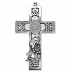 5-1/2 Inch Pierced Pewter First Communion Girl Wall Cross
