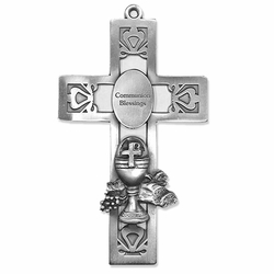 5-1/2 Inch Pierced Pewter First Communion Chalice Wall Cross