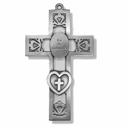 5-1/2 Inch Pierced Pewter Godmother Wall Cross