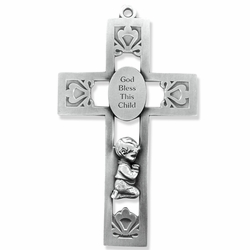 5-1/2 Inch Pierced Pewter Praying Boy Wall Cross