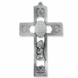 5-1/2 Inch Pierced Pewter Praying Girl Wall Cross