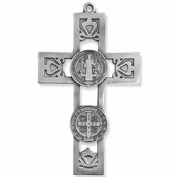 5-1/2 Inch Pierced Pewter St. Benedict Wall Cross