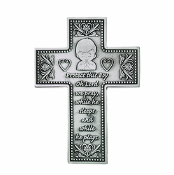5-3/8 Inch Pewter Praying Boy Wall Cross