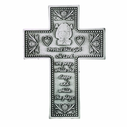 5-3/8 Inch Pewter Praying Girl Wall Cross