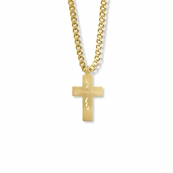 "5/8 Inch 14K Gold Filled Cross with Centered ""Grandma"" Engraving Necklace"
