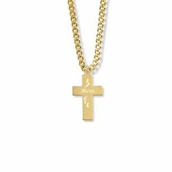 """5/8 Inch 14KT Gold Filled Cross with Centered """"Mom"""" Engraving Necklace"""