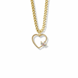 5/8 Inch 14K Gold Filled Enameled Dove and Open Heart Necklace