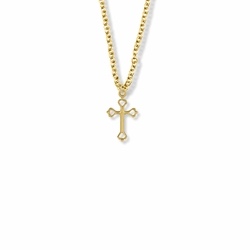 5/8 Inch 14K Gold Filled Opened Heart Ends Cross Necklace