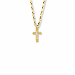 5/8 Inch 14K Gold Filled Pierced Cross Necklace