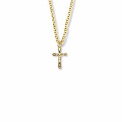 5/8 Inch 14K Gold Filled Small Rounded Ends Crucifix Necklace