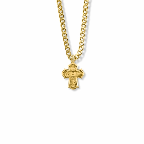 5/8 Inch 14K Gold First Communion Four Way Medal