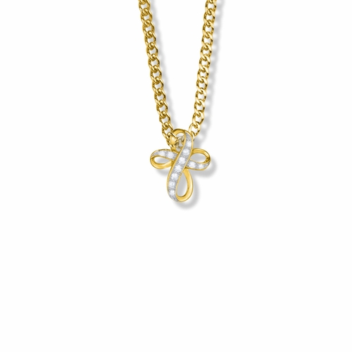 5/8 Inch 14K Gold Over Sterling Silver Bow Cross Necklace with Crystal Cubic Zirconia Stones