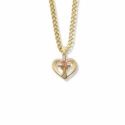 5/8 Inch 14K Gold Over Sterling Silver Enameled Pink Rose Cross Heart Necklace