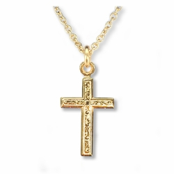5/8 Inch 14K Gold Over Sterling Silver Engraved Cross Necklace
