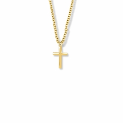 5/8 Inch 14K Gold Over Sterling Silver Plain Cross Necklace