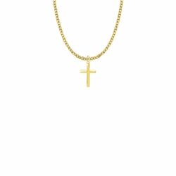 5/8 Inch 14KT Gold Plated Over Sterling Silver Plain Cross Necklace