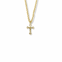 5/8 Inch 14K Gold Over Sterling Silver Small Pierced Crucifix Necklace