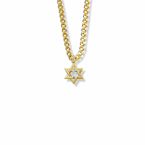 5/8 Inch 14K Gold Over Sterling Silver Two-Tone Star of David with Cross Necklace