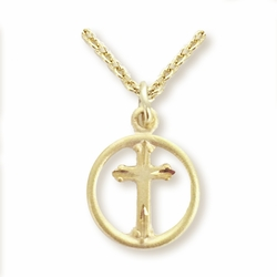 5/8 Inch 14K Gold Plated Over Sterling Silver Circle with Inner Cross Necklace