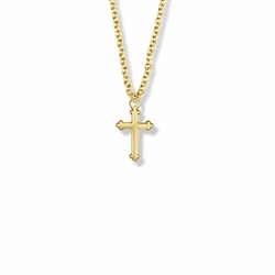 5/8 Inch Brass Gold Plated Girl Budded Ends First Communion Cross Necklace