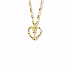 5/8 Inch Gold Plated Open Heart Chalice Necklace