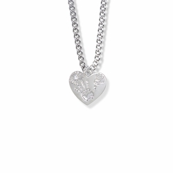 "5/8 Inch ""Mommy & Me"" Silver Heart Necklace with April Birthstone"