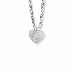 "5/8 Inch ""Mommy & Me"" Silver Heart Necklace with August Birthstone"
