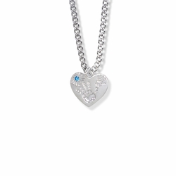 "5/8 Inch ""Mommy & Me"" Silver Heart Necklace with December Birthstone"