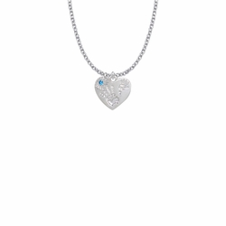 """5/8 Inch """"Mommy & Me"""" Silver Heart Necklace with December Birthstone"""