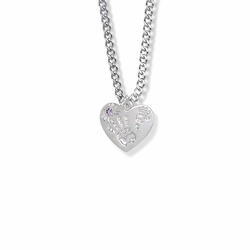 "5/8 Inch ""Mommy & Me"" Silver Heart Necklace with February Birthstone"