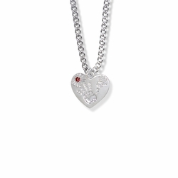 "5/8 Inch ""Mommy & Me"" Silver Heart Necklace with January Birthstone"