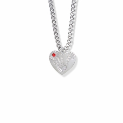 "5/8 Inch ""Mommy & Me"" Silver Heart Necklace with July Birthstone"