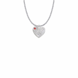 """5/8 Inch """"Mommy & Me"""" Silver Heart Necklace with July Birthstone"""