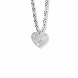 "5/8 Inch ""Mommy & Me"" Silver Heart Necklace with March Birthstone"