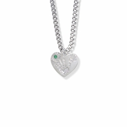 "5/8 Inch ""Mommy & Me"" Silver Heart Necklace with May Birthstone"