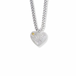 "5/8 Inch ""Mommy & Me"" Silver Heart Necklace with November Birthstone"