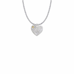 """5/8 Inch """"Mommy & Me"""" Silver Heart Necklace with November Birthstone"""