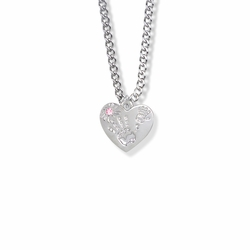 "5/8 Inch ""Mommy & Me"" Silver Heart Necklace with October Birthstone"