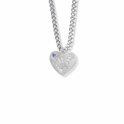 """5/8 Inch """"Mommy & Me"""" Silver Heart Necklace with September Birthstone"""