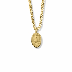 5/8 Inch Oval Pewter Gold Plated Our Lady of Fatima Medal