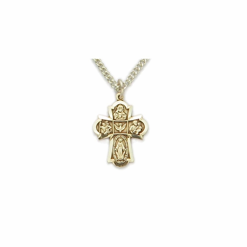 5/8 Inch Pewter Gold Plated Girl First Communion Four Way Medal