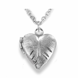 5/8 Inch Silver Plated Heart Locket and Engraved Cross Necklace