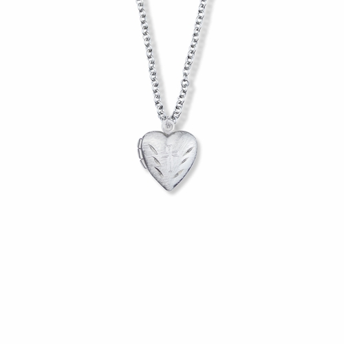5/8 Inch Silver Plated Heart Locket Necklace with Etched Cross