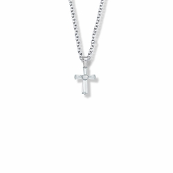 5/8 Inch Sterling Silver and Glass Crystal First Communion April Birthstone Baguette Cross Necklace