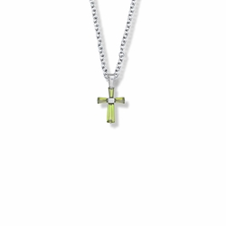 5/8 Inch Sterling Silver and Glass Crystal First Communion August Birthstone Baguette Cross Necklace