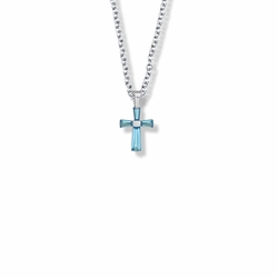 5/8 Inch Sterling Silver and Glass Crystal First Communion December Birthstone Baguette Cross Necklace