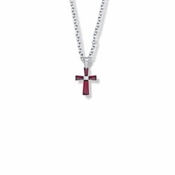 5/8 Inch Sterling Silver and Glass Crystal First Communion January Birthstone Baguette Cross Necklace