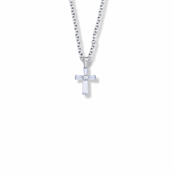 5/8 Inch Sterling Silver and Glass Crystal First Communion June Birthstone Baguette Cross Necklace