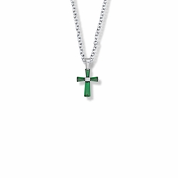 5/8 Inch Sterling Silver and Glass Crystal First Communion May Birthstone Baguette Cross Necklace