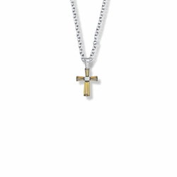 5/8 Inch Sterling Silver and Glass Crystal First Communion November Birthstone Baguette Cross Necklace